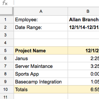 time tracking in excel